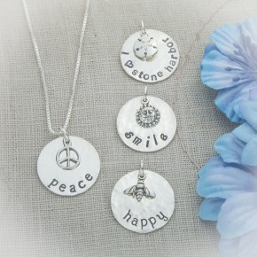 "Design Your Own Words Necklace (Medium Size 3/4"")"