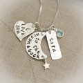 I Love You to The Moon and Back Necklace with Name and Birthstone