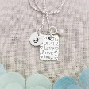 Live Love Laugh Rectangle Necklace