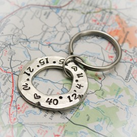 Latitude and Longitude Pewter Washer Keychain