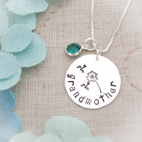 Dandelion Disc Necklace with Birthstones