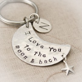 I Love You to the Moon and Back Keychain Moon and Stars