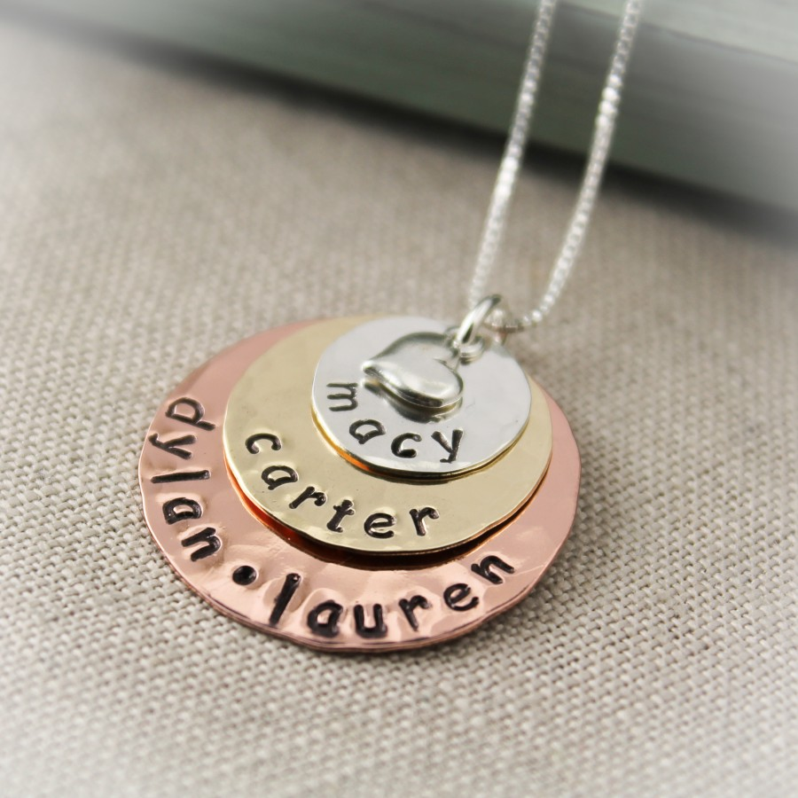 personalized layered mother or grandmother necklace necklace. Black Bedroom Furniture Sets. Home Design Ideas