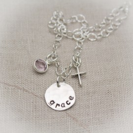 Have Faith Bracelet with Name and Birthstone