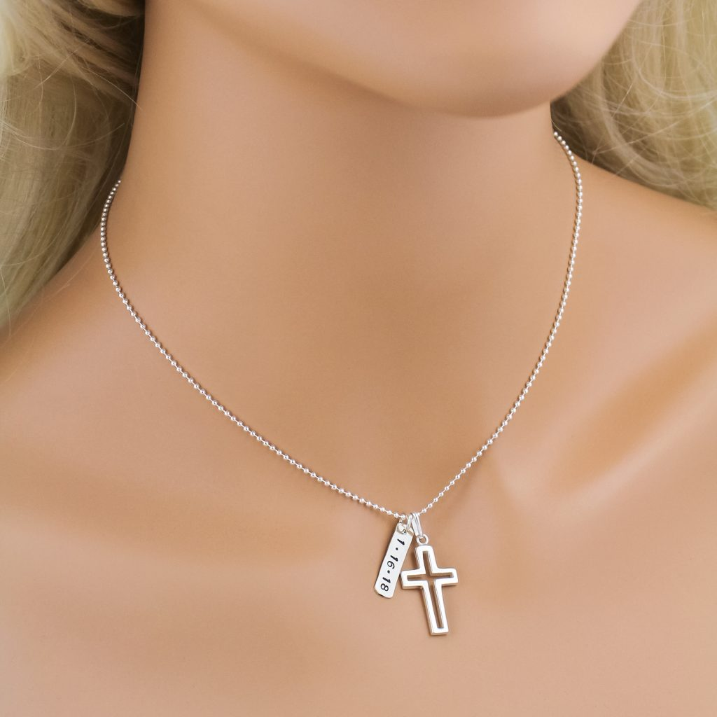 Unique and personalized boy cross charm necklace for confirmations.