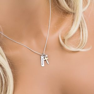 Unique girls confirmation cross necklace that can be personalized with name.