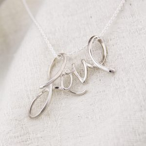 Unique sterling silver LOVE necklace for Valentine's Day.