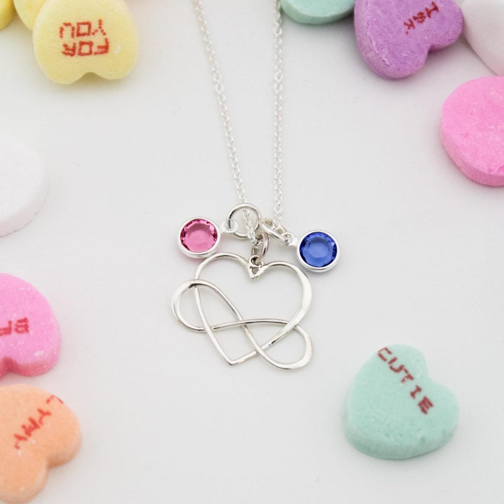 Unique infinity heart necklace with birthstone gem charms.