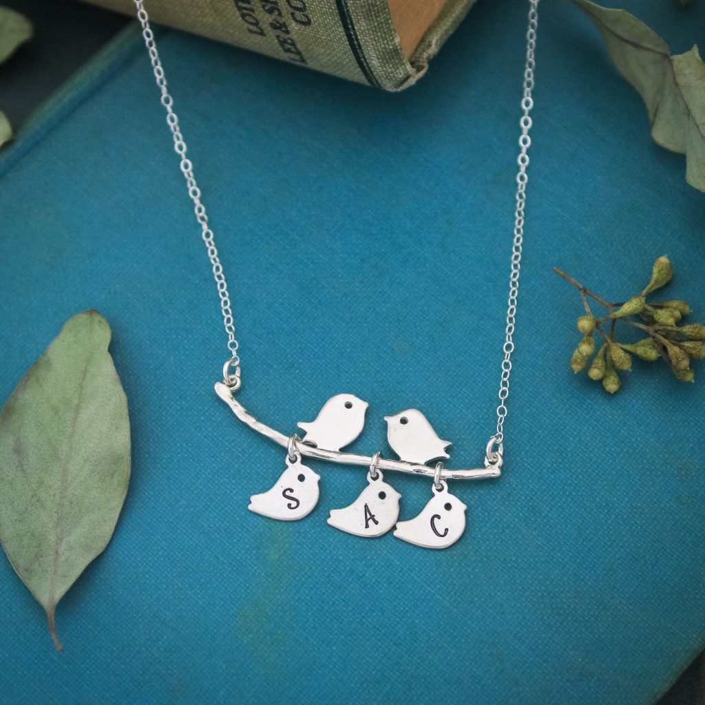Bird and chickie mother necklace for Mother's Day gift.