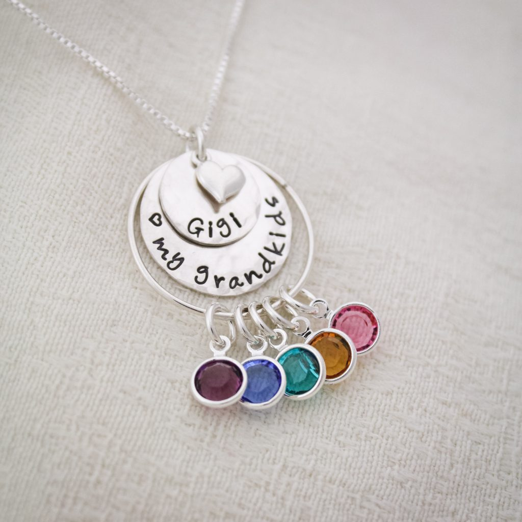 Unique personalized birthstone necklace for grandmas.