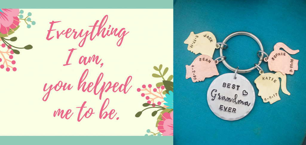 Unique grandmother keychain personalized with name and grandchildren names.