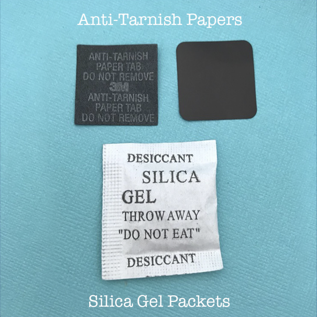 Anti-tarnish papers and silica gel packets are used for jewelry storage.