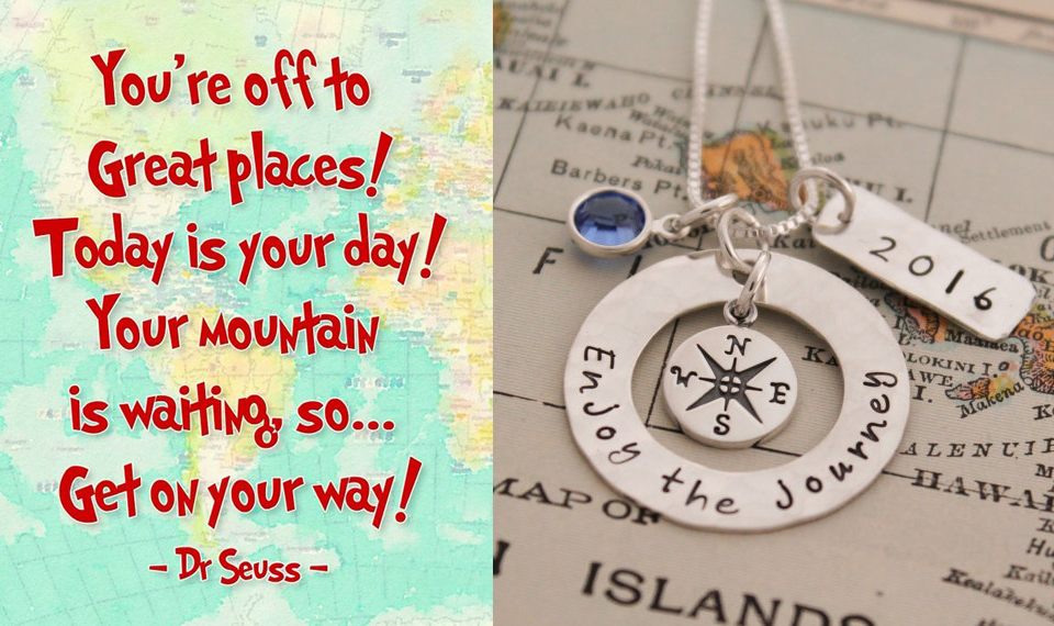 Personalized Enjoy the Journey 2018 graduation necklace gift.