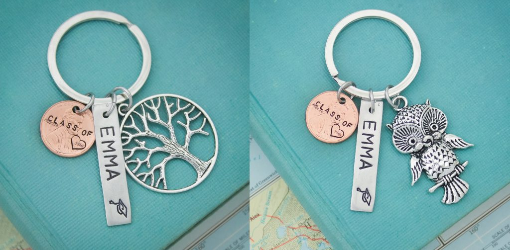 Personalized lucky penny keychain, graduation gift for boys and girls.