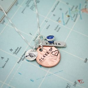 "Unique lucky penny necklace, hand stamped with ""class of 2018"" and personalized with name."
