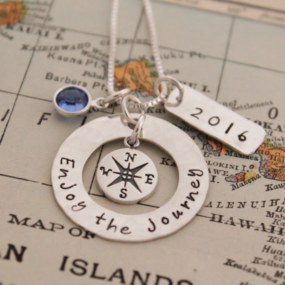 Hand stamped Enjoy the Journey Graduation Necklace with compass and birthstone.