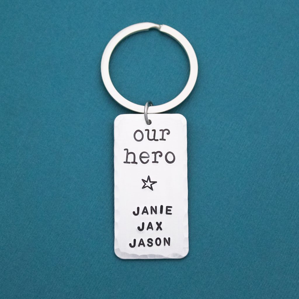 Personalized our hero father's day gift keychain from kids.