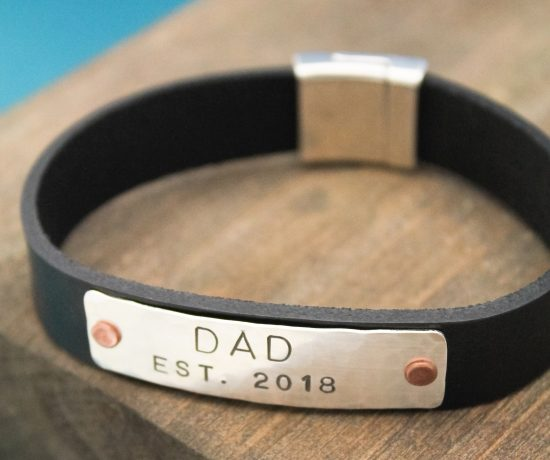Personalized DAD cuff made of leather.