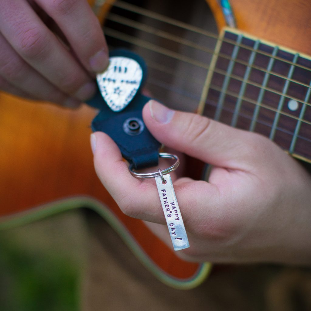 Guitar pick father's day gift.