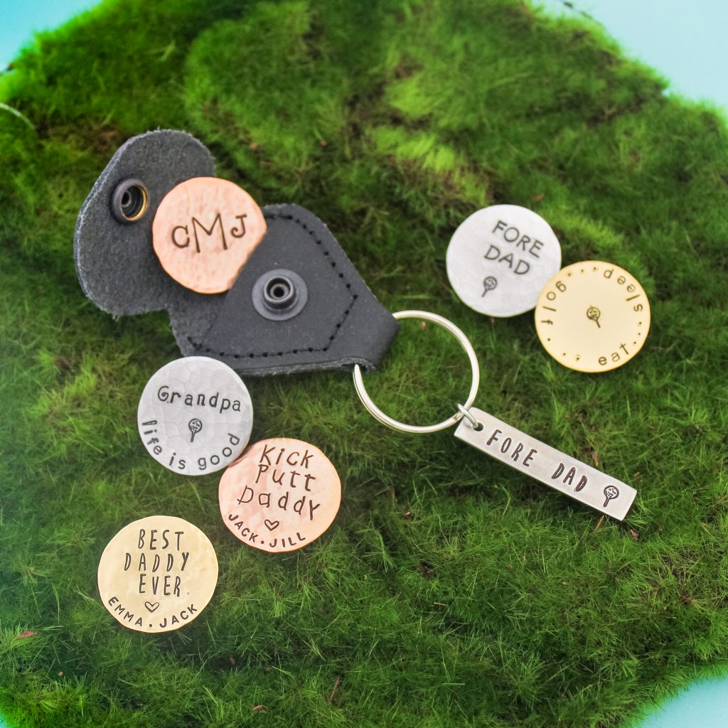 Unique personalized golf marker keychain, great gift for dad.