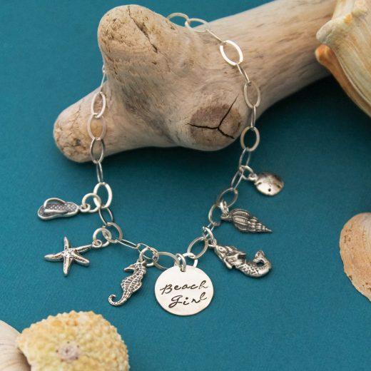 Beach girl charm bracelet in sterling silver