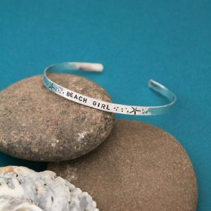 Unique hand stamped cuff bangle bracelet in sterling silver