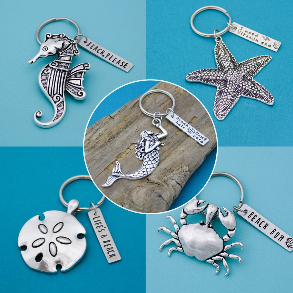 Beach keychains includes mermaid, sand-dollar, crab, seahorse, and starfish.