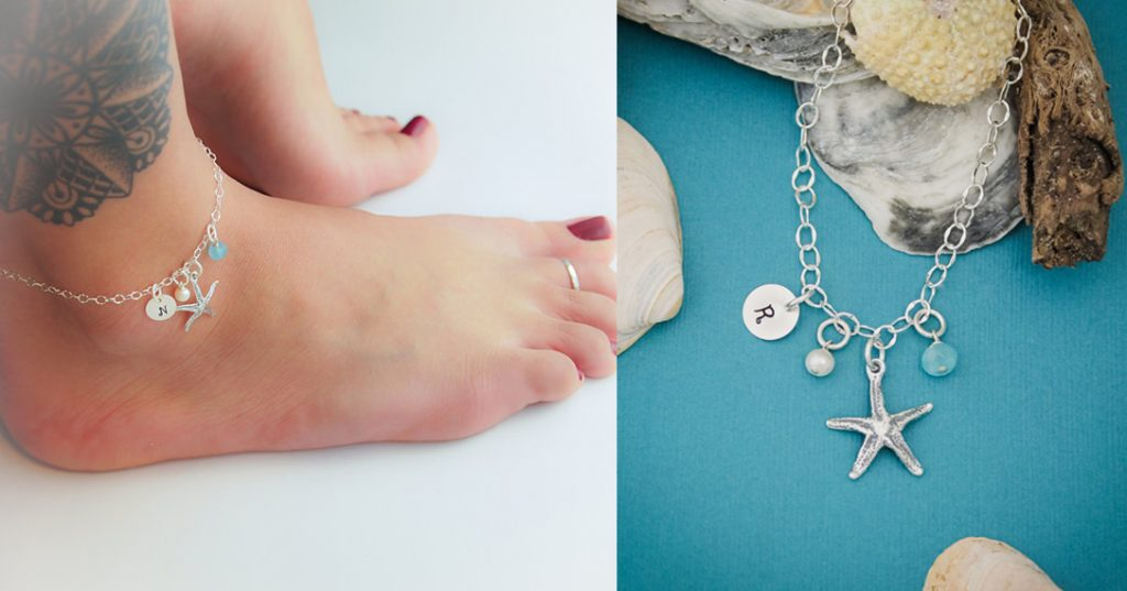 Starfish summer anklet design sterling silver