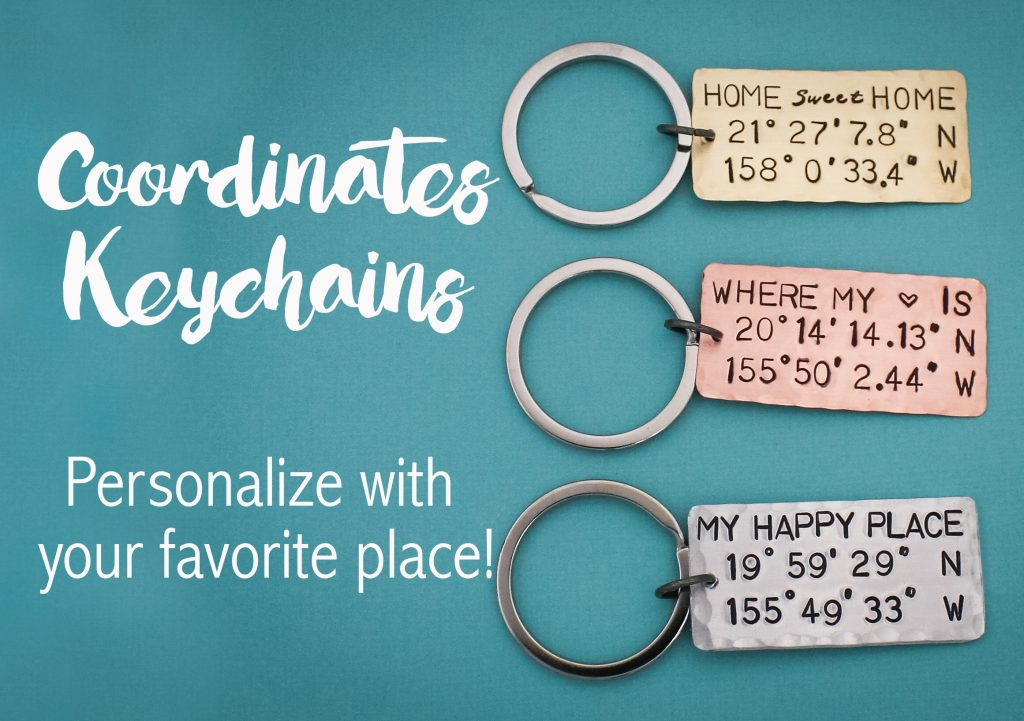 Hand-stamped coordinates keychains make unique gifts for weddings or housewarmings.