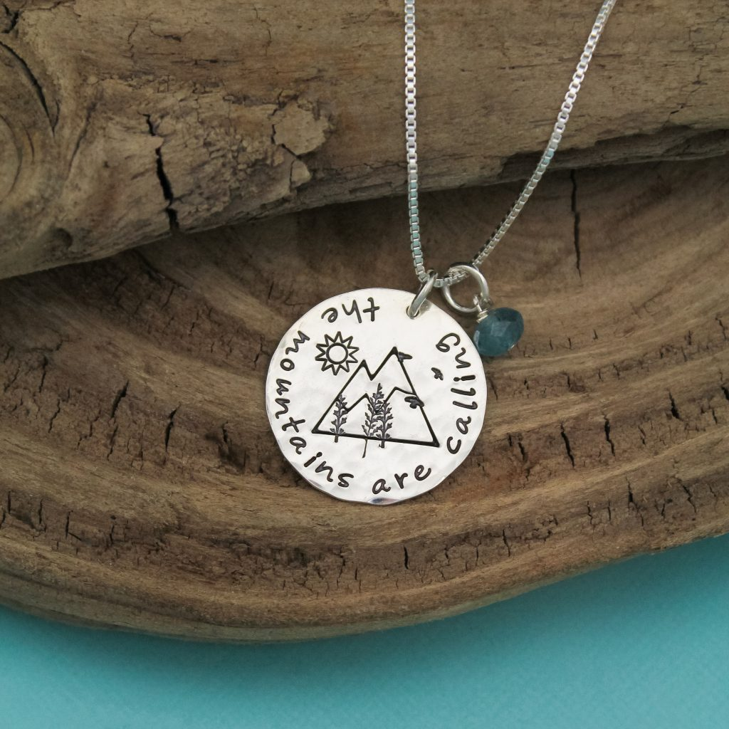 The Mountains are calling and I must go sterling silver necklace.