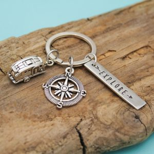 Explore Camper keychain in pewter, personalized and custom designs.