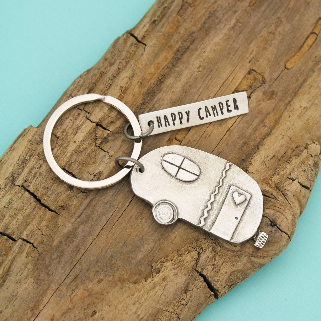 Hand stamped pewter keychain, a great gift for him.