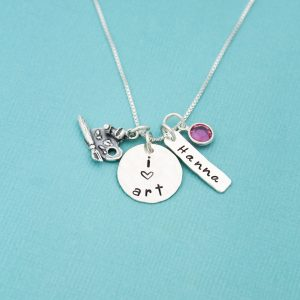 Hand stamped I love Art disc with Name tag, birthstone, and art palette charm.