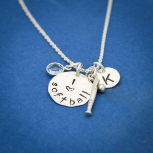 Minimalist softball sports necklace for girl softball players.