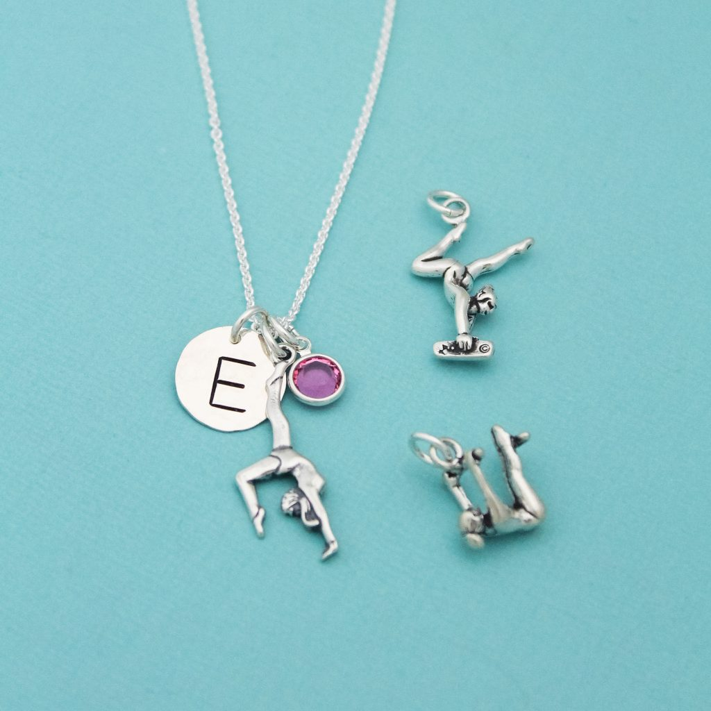 Hand stamped initial gymnastics gymnast necklace gift.
