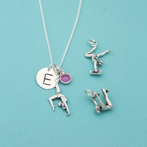 Hand stamped initial gymnastics gymnast necklace gift.