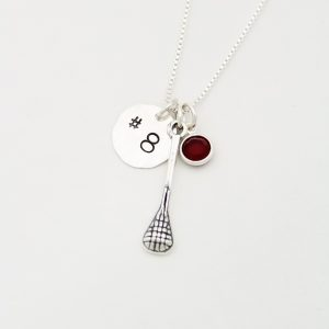 Minimalist lacrosse stick charm necklace with jersey number and birthstone.