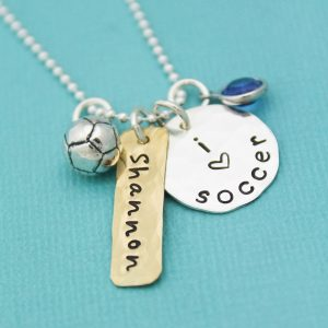 Unique hand stamped soccer necklace for girl soccer players.