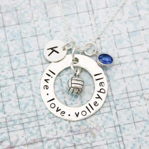 Hand stamped live love volleyball necklace for your favorite player.