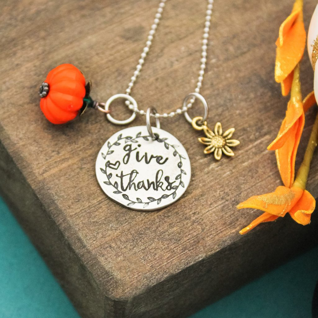 Hand stamped pewter give thanks necklace for thanksgiving.