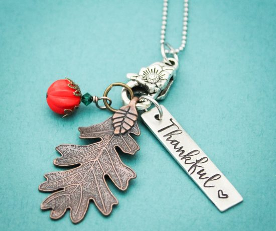 Hand made pewter Thankful necklace for thanksgiving holiday season.