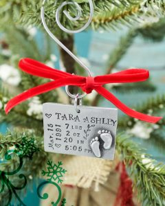Personalized baby stats christmas ornament.