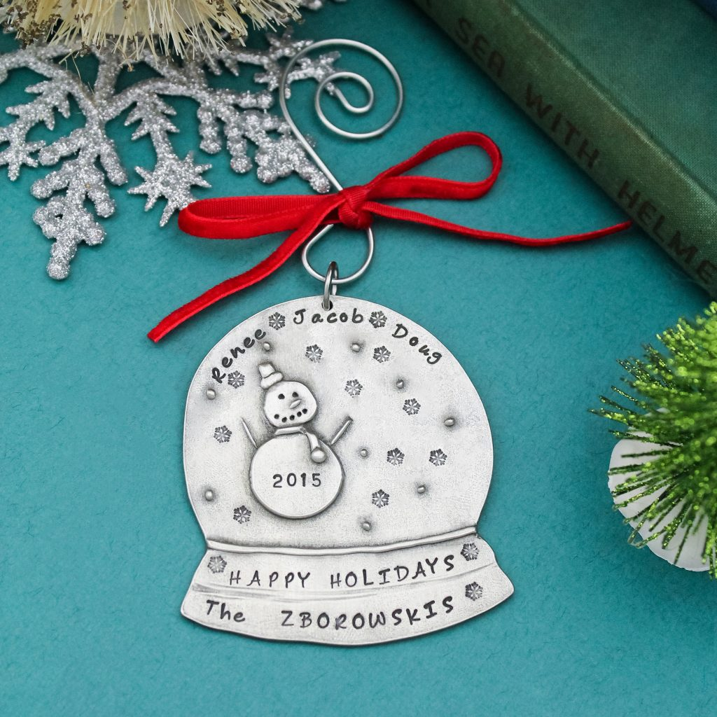 Unique personalized snow globe Christmas Ornament for host gift.
