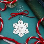 Personalized family ornament with hand stamped names.