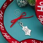Personalized Holly leaf Christmas ornament