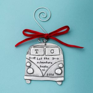 Personalized old school Volkswagen van engraved with couples name.