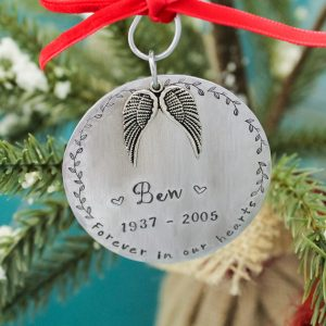 Personalized in memory christmas ornament.