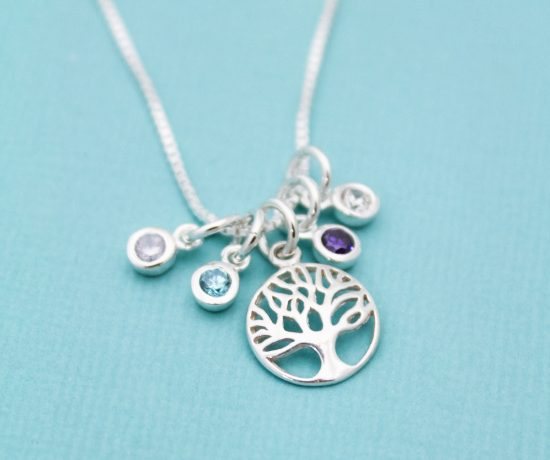 Tree of life family birthstone necklace gift for mom or grandma.