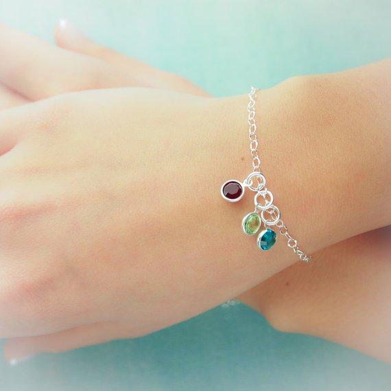 Drop charm birthstone bracelet