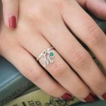 Custom Birthstone ring with initial.